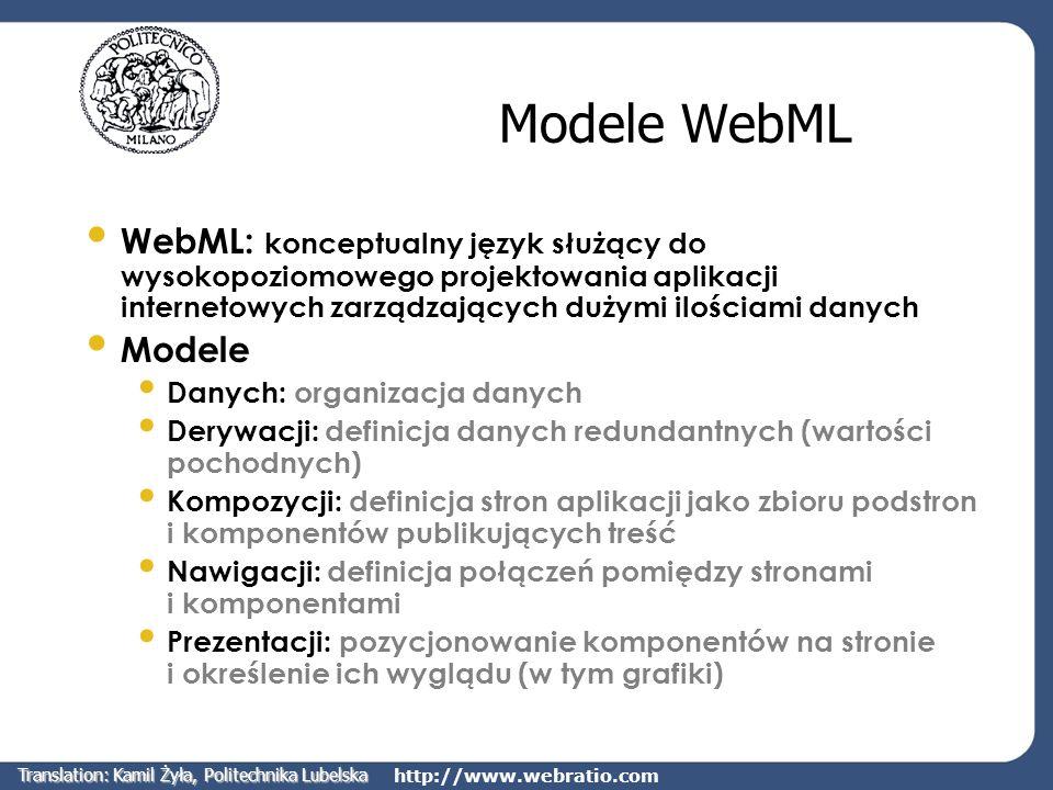 http://www.webratio.com Modele WebML WebML: konceptualny język służący do wysokopoziomowego projektowania aplikacji internetowych zarządzających dużym