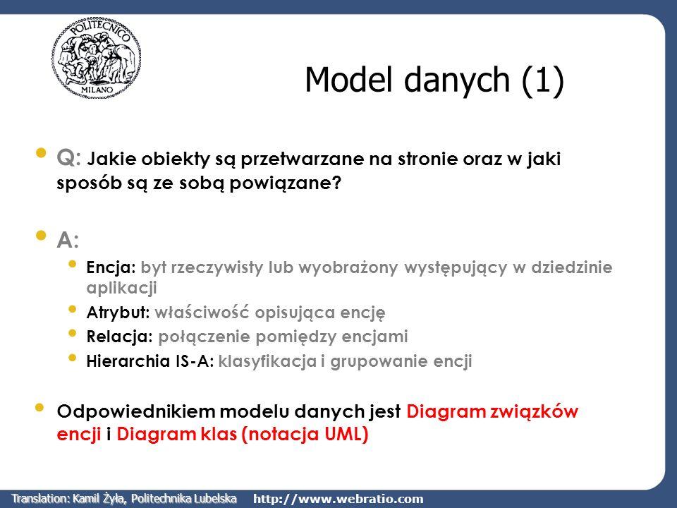 http://www.webratio.com Model danych (1) Q: Jakie obiekty są przetwarzane na stronie oraz w jaki sposób są ze sobą powiązane? A: Encja: byt rzeczywist