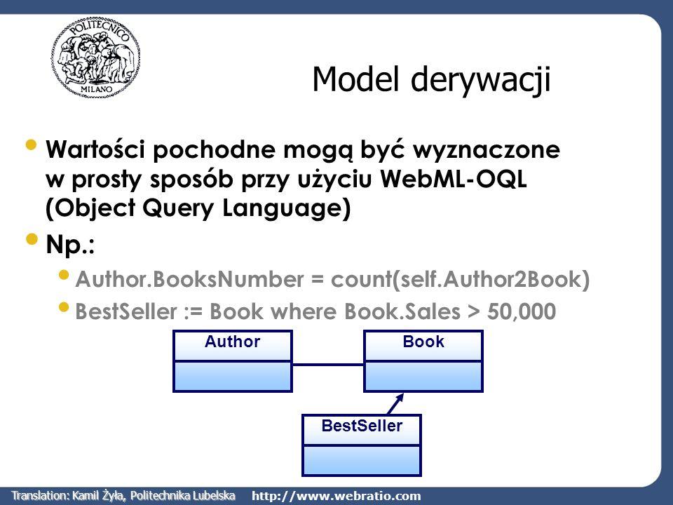 http://www.webratio.com Model derywacji Wartości pochodne mogą być wyznaczone w prosty sposób przy użyciu WebML-OQL (Object Query Language) Np.: Autho