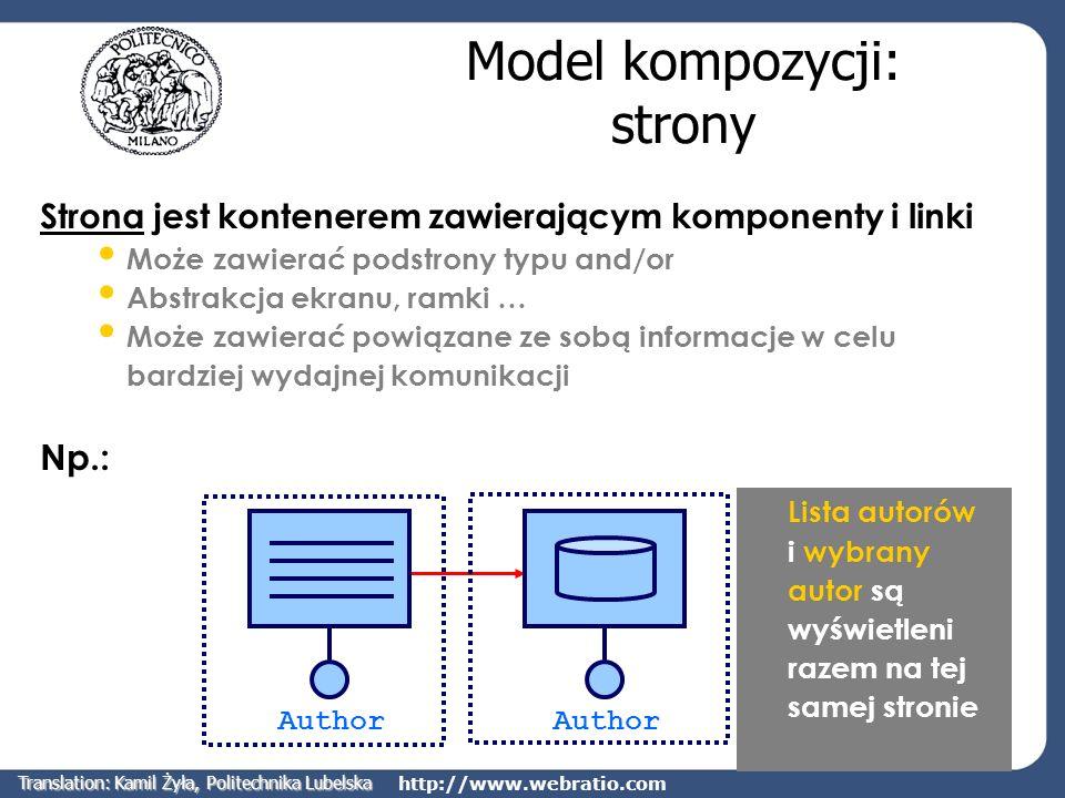 http://www.webratio.com Model kompozycji: strony Strona jest kontenerem zawierającym komponenty i linki Może zawierać podstrony typu and/or Abstrakcja