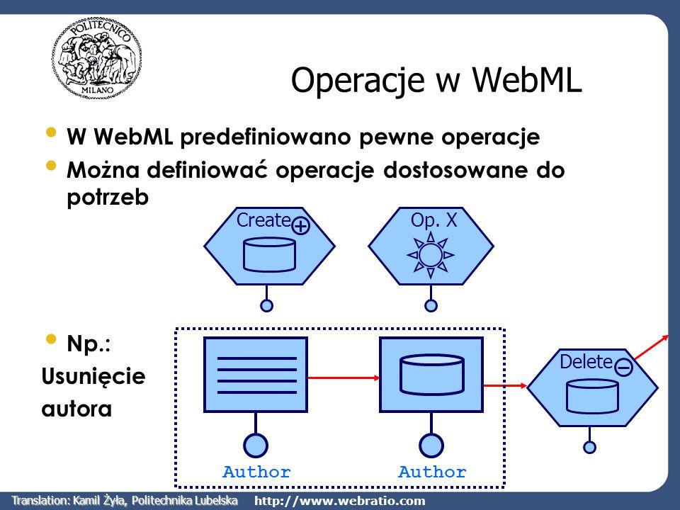 http://www.webratio.com Operacje w WebML W WebML predefiniowano pewne operacje Można definiować operacje dostosowane do potrzeb Np.: Usunięcie autora
