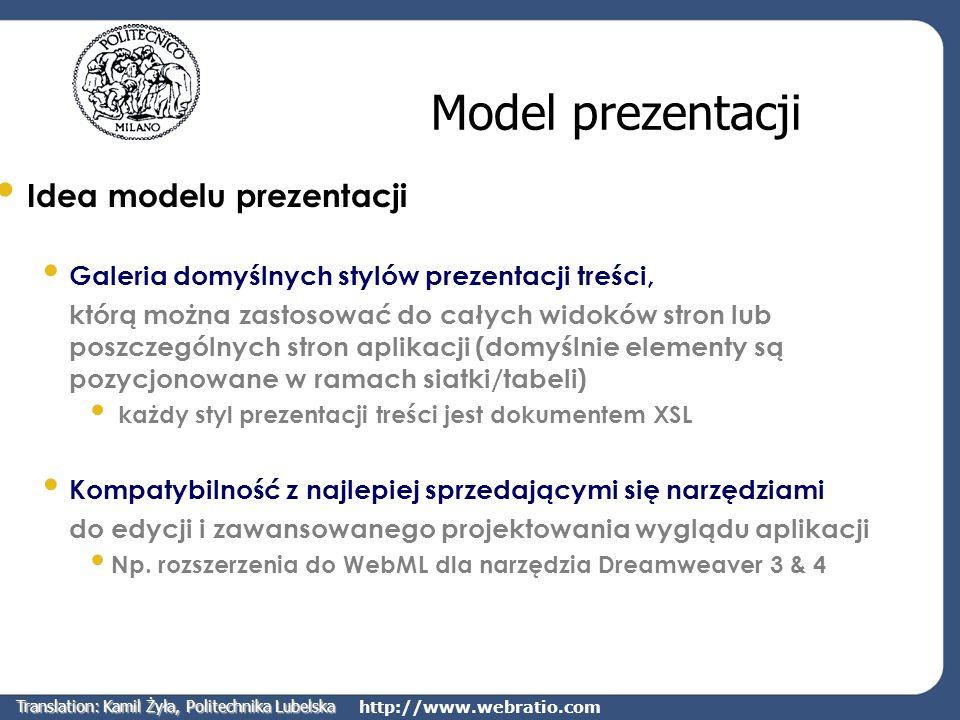 http://www.webratio.com Model prezentacji Idea modelu prezentacji Galeria domyślnych stylów prezentacji treści, którą można zastosować do całych widok