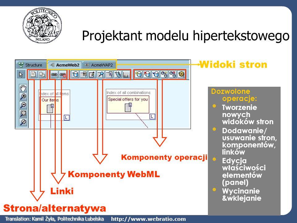 http://www.webratio.com Projektant modelu hipertekstowego Komponenty operacji Linki Strona/alternatywa Komponenty WebML Widoki stron Dozwolone operacj