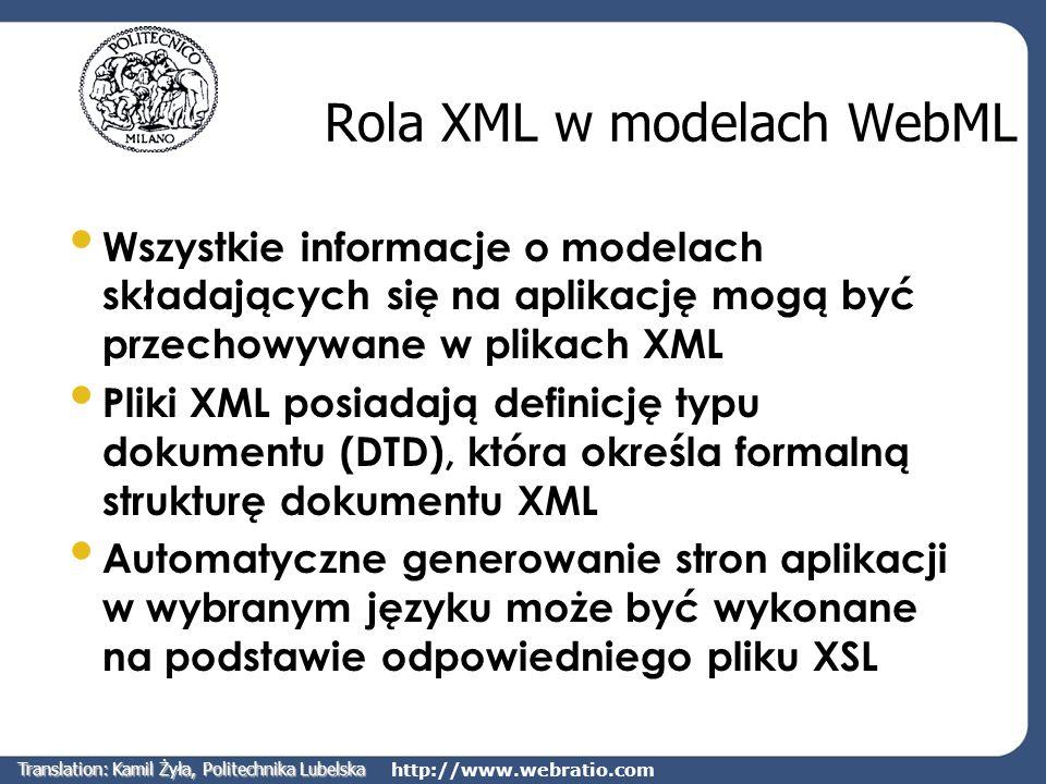 http://www.webratio.com Rola XML w modelach WebML Wszystkie informacje o modelach składających się na aplikację mogą być przechowywane w plikach XML P