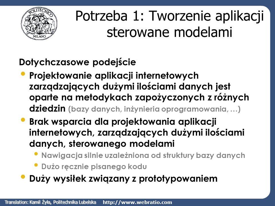 http://www.webratio.com Potrzeba 2: Zwiększenie złożoności aplikacji Złożoność aplikacji Czynniki zwiększające złożoność współczesnych aplikacji internetowych Obsługiwane urządzenia dostępowe (PC, PDA, WAP, telefony 3G, cyfrowa TV, videotext) Kompleksowe usługi (myYahoo, myCDNOW,…) Czynniki te wpływają na koszt Stworzenia aplikacji Rozwoju i konserwacji aplikacji Translation: Kamil Żyła, Politechnika Lubelska