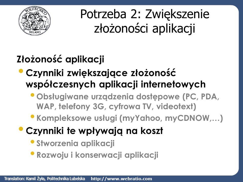 http://www.webratio.com Widoki stron Widok stron jest to zbiór stron, który użytkownik może odbierać jako całą aplikację internetową Można definiować oddzielne widoki stron dla różnych urządzeń dostępowych i różnych grup użytkowników Dzięki temu osiągnięto kontrolę dostępu do treści oraz dostosowanie aplikacji do typu urządzenia dostępowego Translation: Kamil Żyła, Politechnika Lubelska
