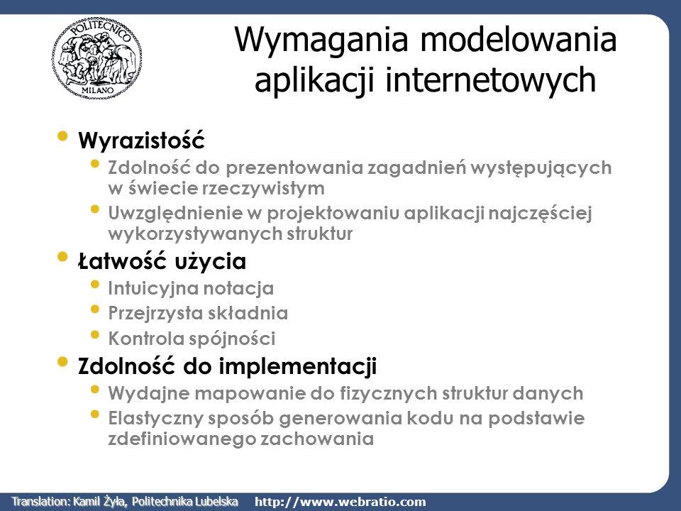 http://www.webratio.com Q1: Co publikuje informacje w węzłach modelu hipertekstowego.