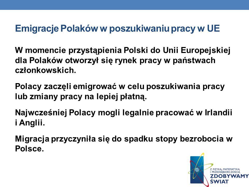 Emigracje Polaków w poszukiwaniu pracy w UE W momencie przystąpienia Polski do Unii Europejskiej dla Polaków otworzył się rynek pracy w państwach czło
