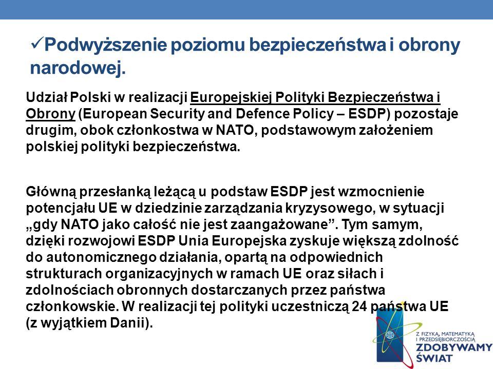 Podwyższenie poziomu bezpieczeństwa i obrony narodowej. Udział Polski w realizacji Europejskiej Polityki Bezpieczeństwa i Obrony (European Security an