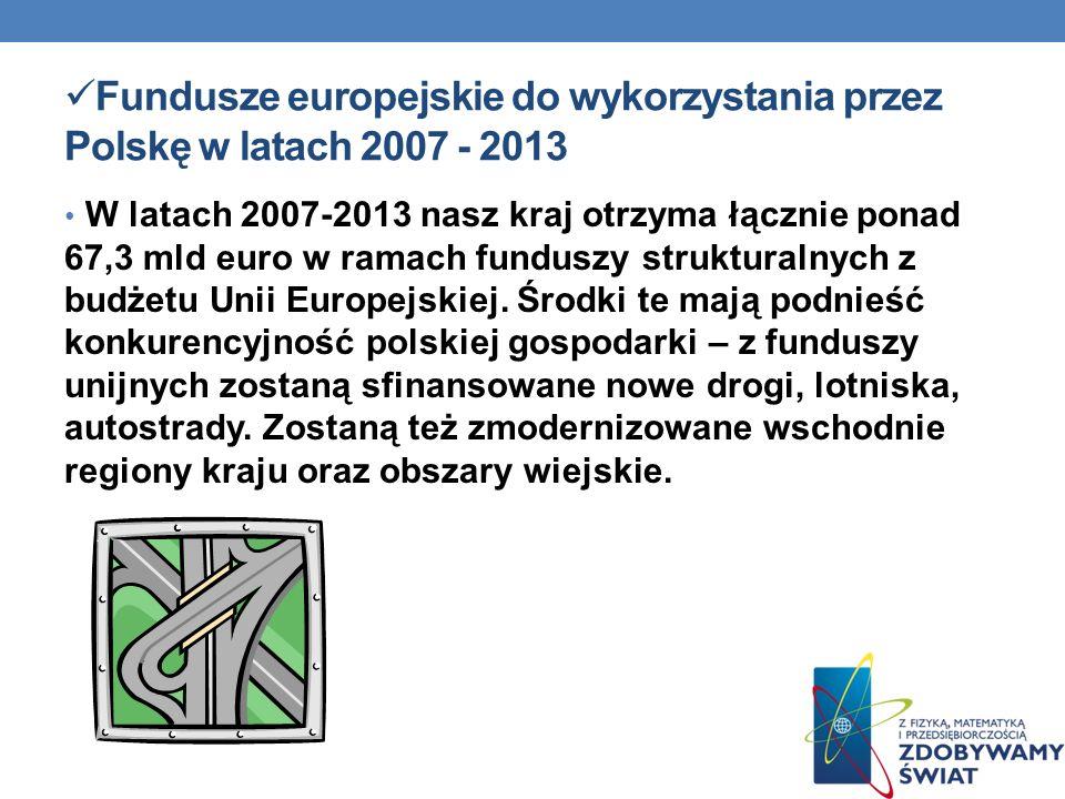 Fundusze europejskie do wykorzystania przez Polskę w latach 2007 - 2013 W latach 2007-2013 nasz kraj otrzyma łącznie ponad 67,3 mld euro w ramach fund