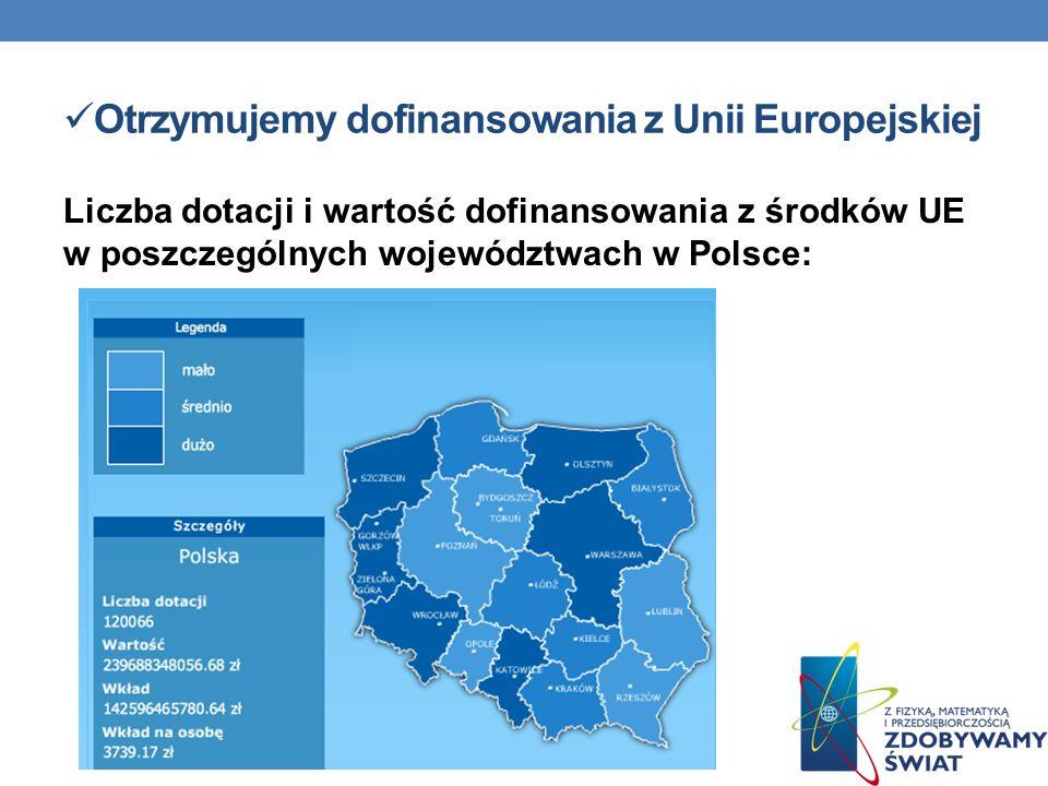 Otrzymujemy dofinansowania z Unii Europejskiej Liczba dotacji i wartość dofinansowania z środków UE w poszczególnych województwach w Polsce: