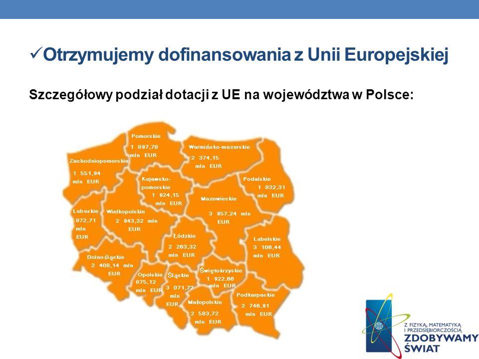 Otrzymujemy dofinansowania z Unii Europejskiej Szczegółowy podział dotacji z UE na województwa w Polsce: