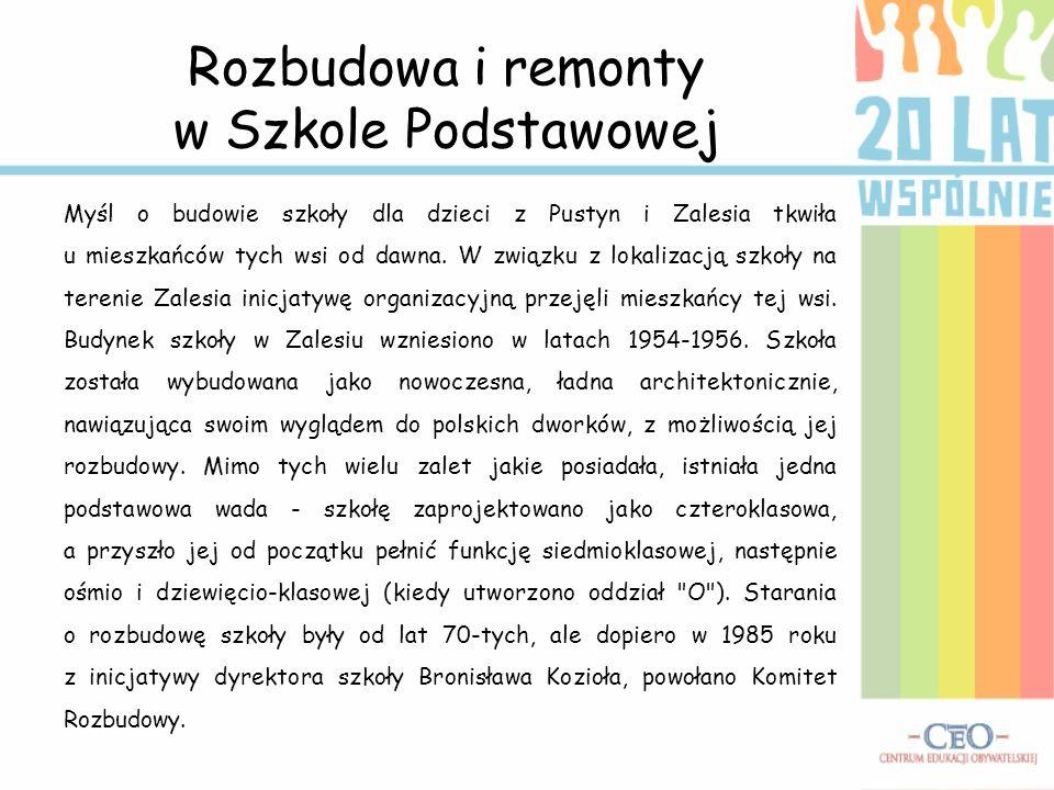 Rozbudowa i remonty w Szkole Podstawowej Myśl o budowie szkoły dla dzieci z Pustyn i Zalesia tkwiła u mieszkańców tych wsi od dawna. W związku z lokal
