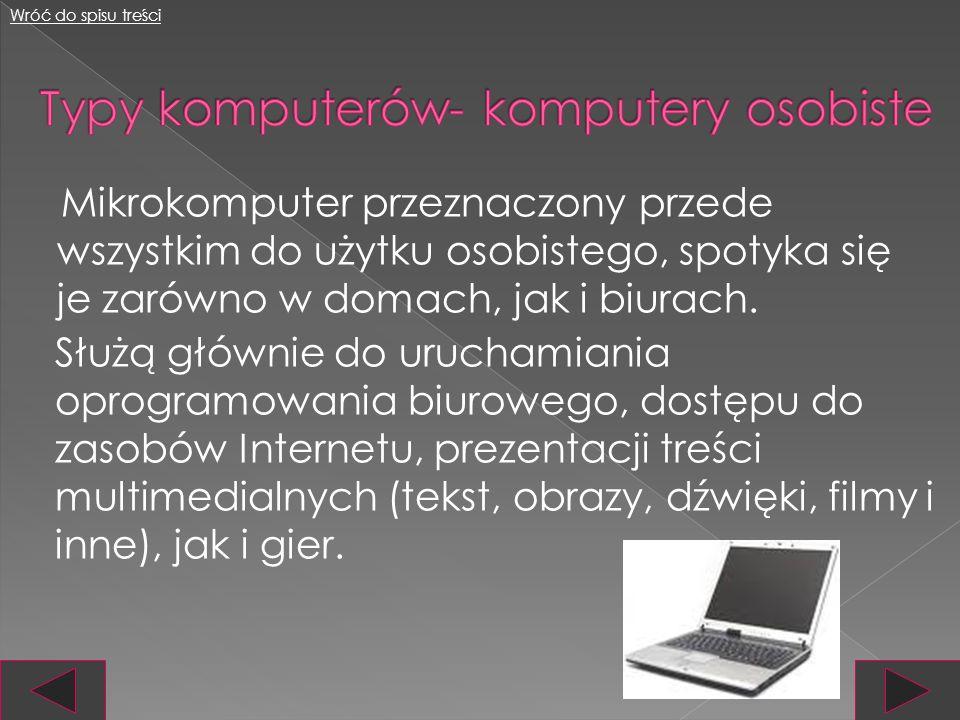 Współczesne komputery dzielimy na: komputery osobiste komputery domowe komputery gospodarcze super komputery komputery wbudowane Wróć do spisu treści