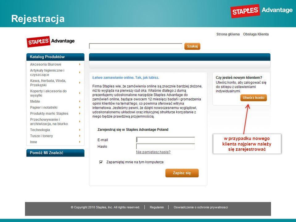 Rejestracja w przypadku nowego klienta najpierw należy się zarejestrować