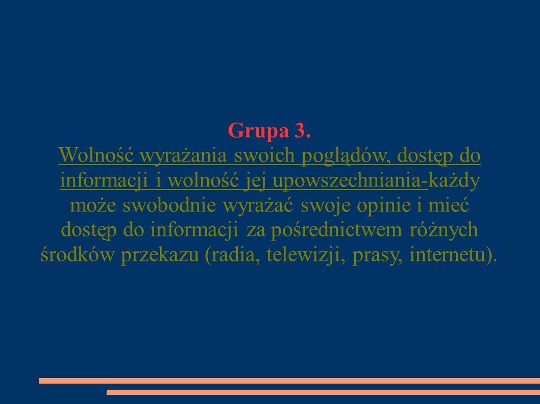 Grupa 3. Wolność wyrażania swoich poglądów, dostęp do informacji i wolność jej upowszechniania-każdy może swobodnie wyrażać swoje opinie i mieć dostęp