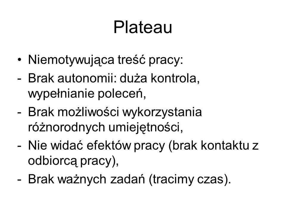 Plateau Niemotywująca treść pracy: -Brak autonomii: duża kontrola, wypełnianie poleceń, -Brak możliwości wykorzystania różnorodnych umiejętności, -Nie