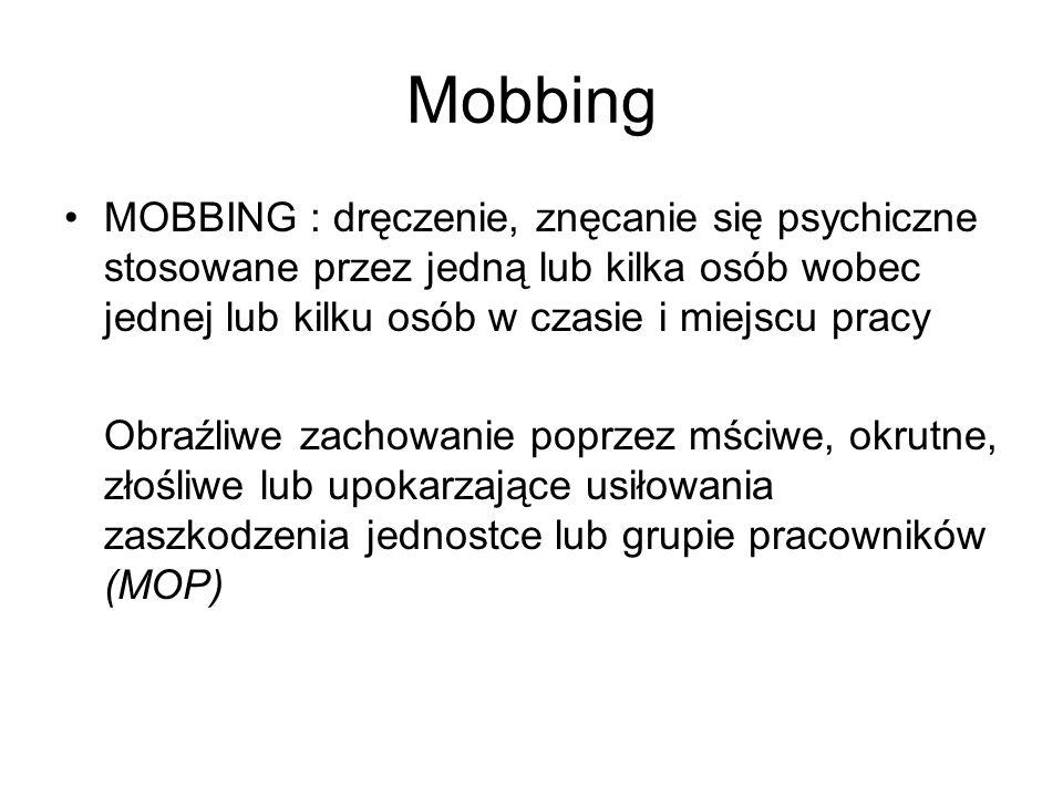 Mobbing MOBBING : dręczenie, znęcanie się psychiczne stosowane przez jedną lub kilka osób wobec jednej lub kilku osób w czasie i miejscu pracy Obraźli