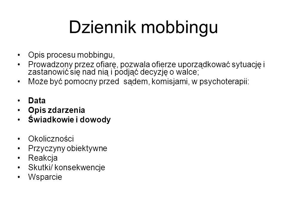 Dziennik mobbingu Opis procesu mobbingu, Prowadzony przez ofiarę, pozwala ofierze uporządkować sytuację i zastanowić się nad nią i podjąć decyzję o wa