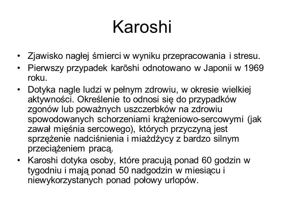 Karoshi Zjawisko nagłej śmierci w wyniku przepracowania i stresu. Pierwszy przypadek karōshi odnotowano w Japonii w 1969 roku. Dotyka nagle ludzi w pe