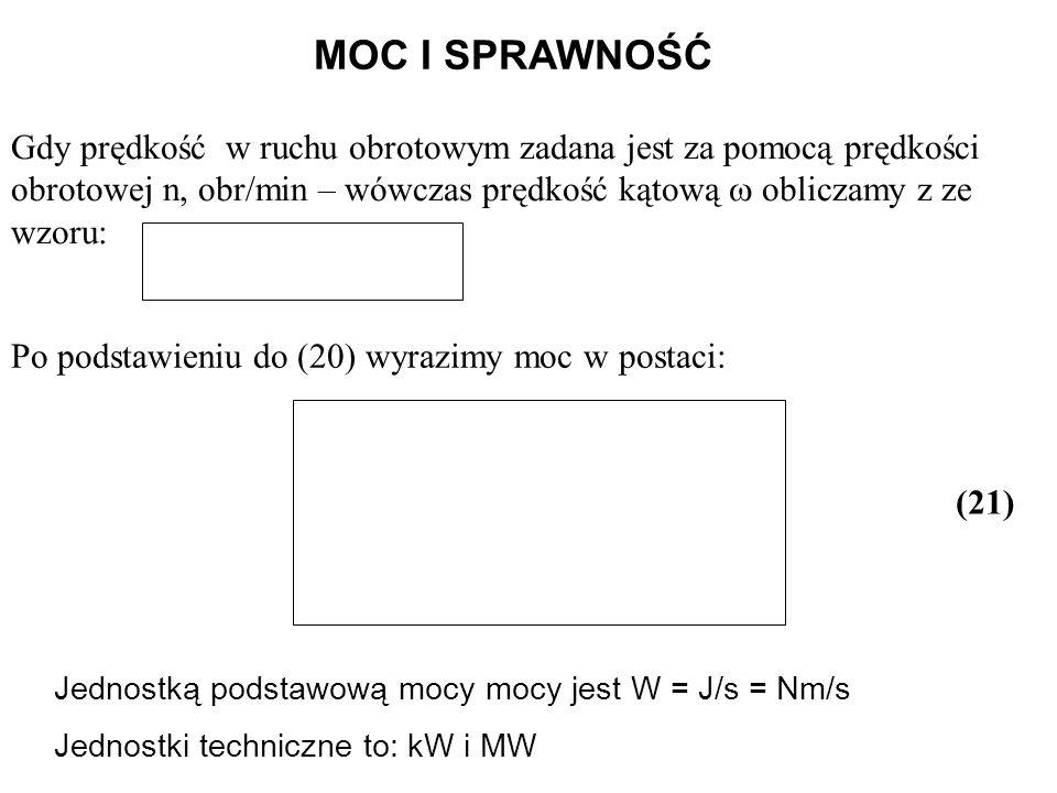 Po podstawieniu do (20) wyrazimy moc w postaci: MOC I SPRAWNOŚĆ Gdy prędkość w ruchu obrotowym zadana jest za pomocą prędkości obrotowej n, obr/min –