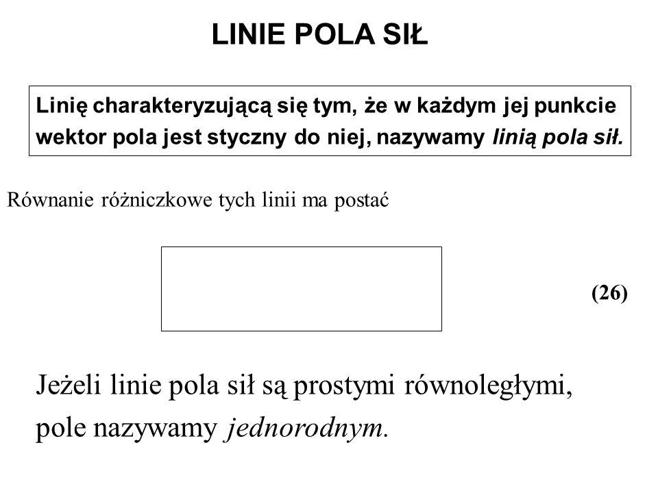 Linię charakteryzującą się tym, że w każdym jej punkcie wektor pola jest styczny do niej, nazywamy linią pola sił. (26) Jeżeli linie pola sił są prost