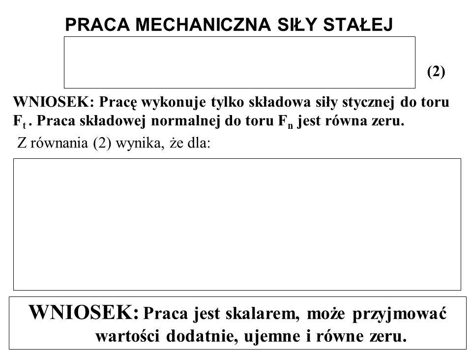 WNIOSEK: Pracę wykonuje tylko składowa siły stycznej do toru F t. Praca składowej normalnej do toru F n jest równa zeru. (2) PRACA MECHANICZNA SIŁY ST