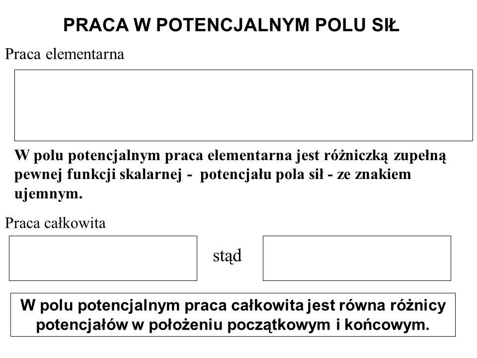 PRACA W POTENCJALNYM POLU SIŁ Praca elementarna W polu potencjalnym praca elementarna jest różniczką zupełną pewnej funkcji skalarnej - potencjału pol