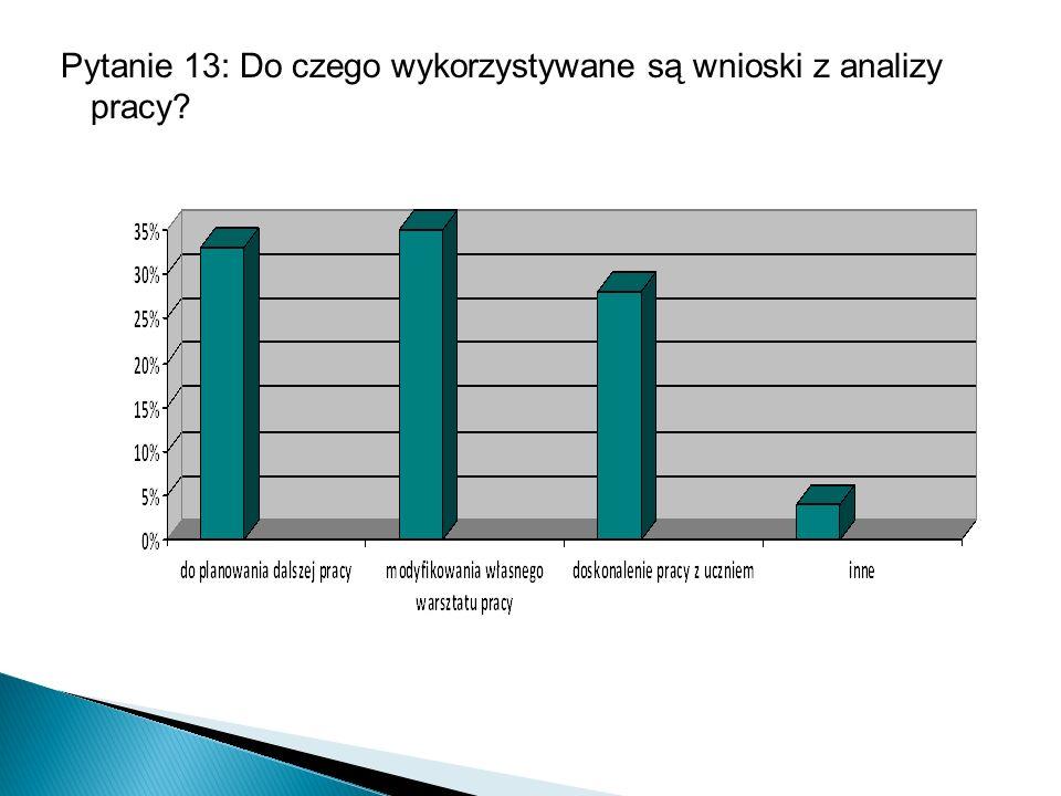 Pytanie 13: Do czego wykorzystywane są wnioski z analizy pracy?