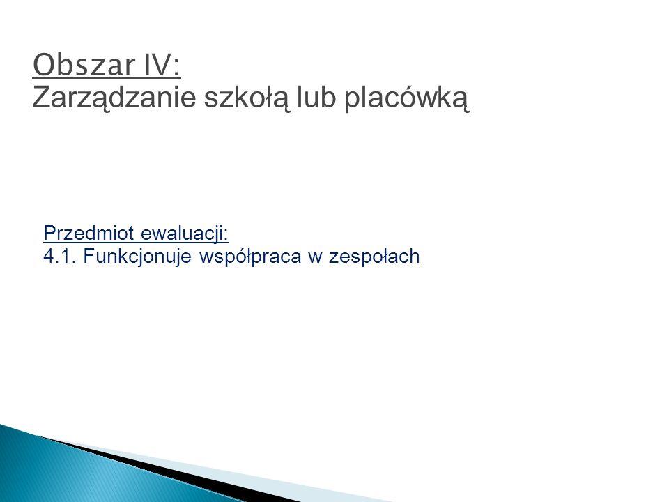 Przedmiot ewaluacji: 4.1. Funkcjonuje współpraca w zespołach Obszar IV : Zarządzanie szkołą lub placówką