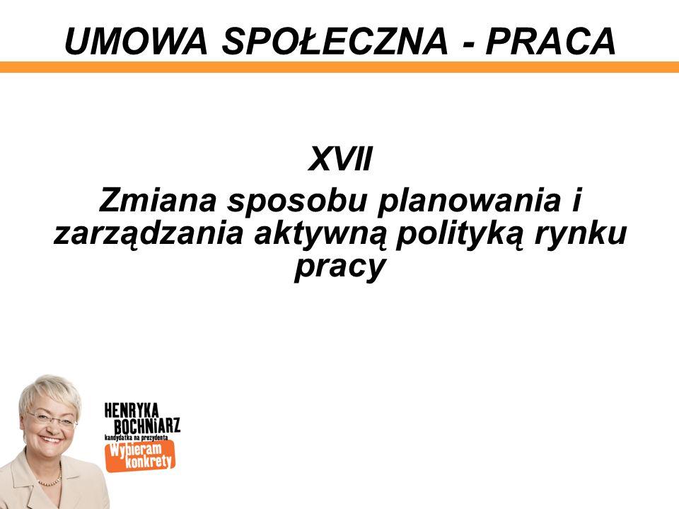 XVII Zmiana sposobu planowania i zarządzania aktywną polityką rynku pracy UMOWA SPOŁECZNA - PRACA