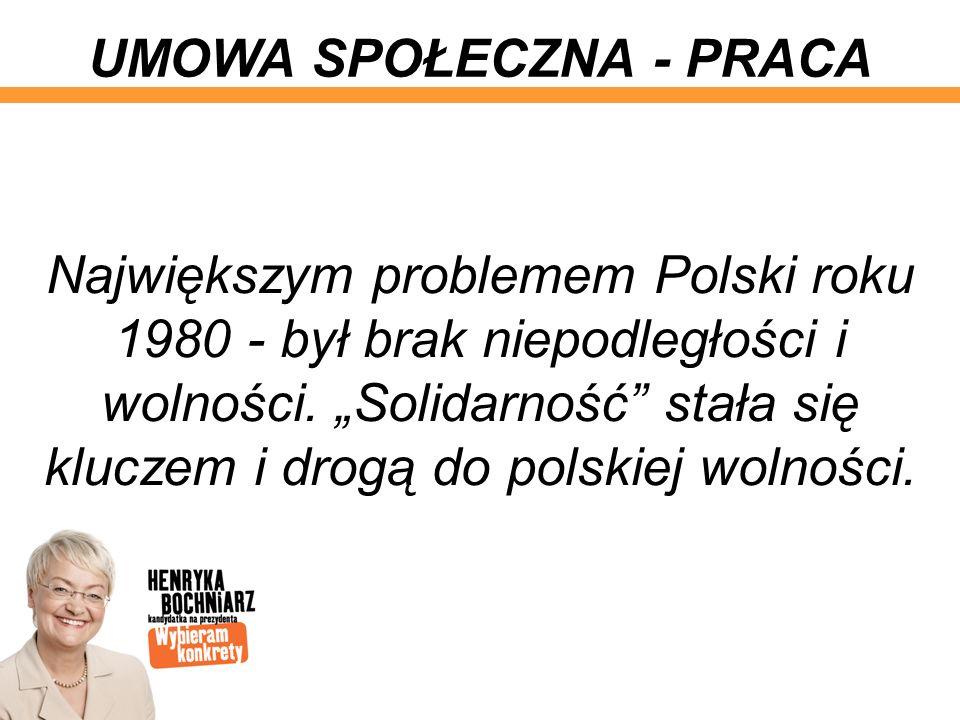 Największym problemem Polski roku 1980 - był brak niepodległości i wolności. Solidarność stała się kluczem i drogą do polskiej wolności. UMOWA SPOŁECZ