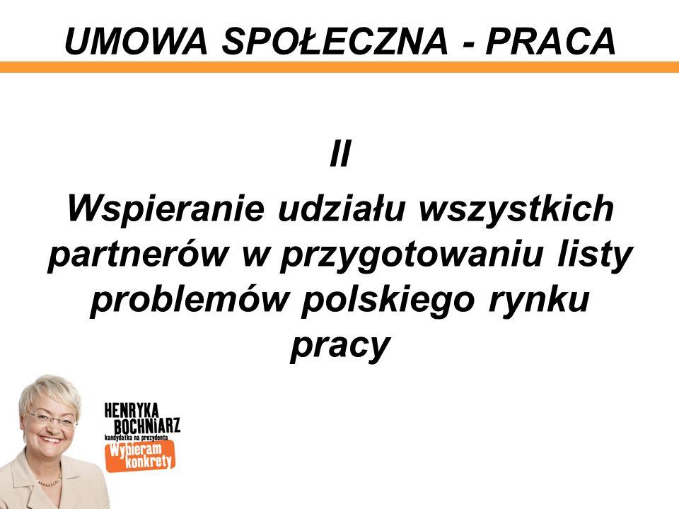 II Wspieranie udziału wszystkich partnerów w przygotowaniu listy problemów polskiego rynku pracy UMOWA SPOŁECZNA - PRACA