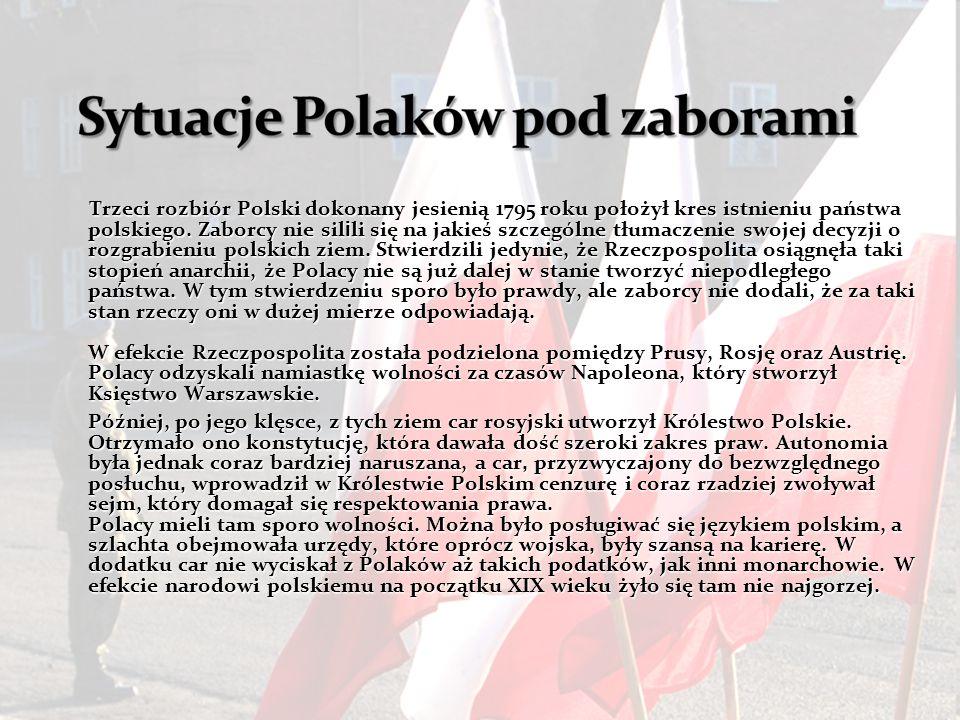 Trzeci rozbiór Polski dokonany jesienią 1795 roku położył kres istnieniu państwa polskiego. Zaborcy nie sil i li się na jakieś szczególne tłumaczenie