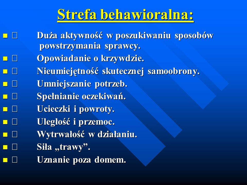 Strefa behawioralna: Strefa behawioralna: Duża aktywność w poszukiwaniu sposobów powstrzymania sprawcy.