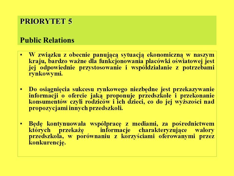 PRIORYTET 5 PRIORYTET 5 Public Relations W związku z obecnie panującą sytuacją ekonomiczną w naszym kraju, bardzo ważne dla funkcjonowania placówki oś