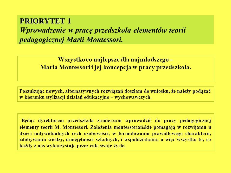 PRIORYTET 1 PRIORYTET 1 Wprowadzenie w pracę przedszkola elementów teorii pedagogicznej Marii Montessori. Wszystko co najlepsze dla najmłodszego – Mar