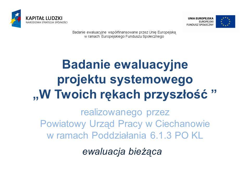 realizowanego przez Powiatowy Urząd Pracy w Ciechanowie w ramach Poddziałania 6.1.3 PO KL ewaluacja bieżąca Badanie ewaluacyjne projektu systemowego W