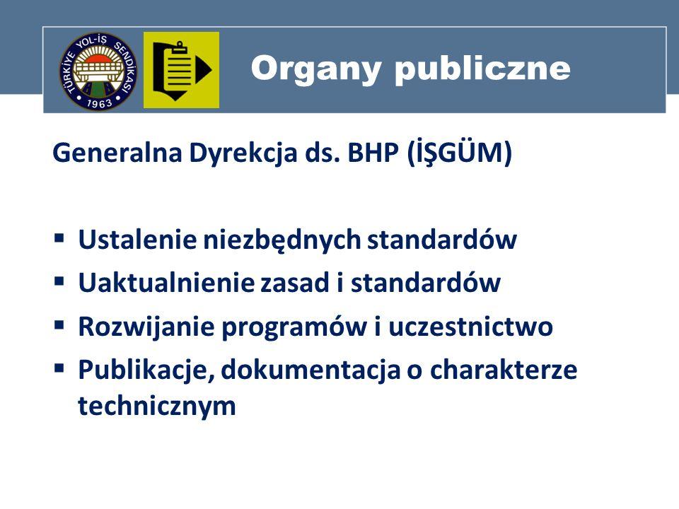 Organy publiczne Generalna Dyrekcja ds. BHP (İŞGÜM) Ustalenie niezbędnych standardów Uaktualnienie zasad i standardów Rozwijanie programów i uczestnic