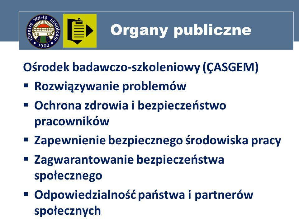 Organy publiczne Ośrodek badawczo-szkoleniowy (ÇASGEM) Rozwiązywanie problemów Ochrona zdrowia i bezpieczeństwo pracowników Zapewnienie bezpiecznego ś