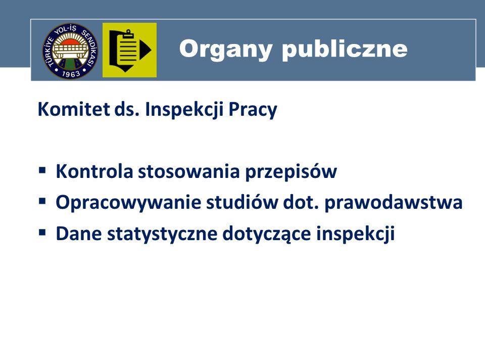 Organy publiczne Komitet ds. Inspekcji Pracy Kontrola stosowania przepisów Opracowywanie studiów dot. prawodawstwa Dane statystyczne dotyczące inspekc