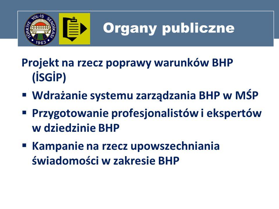 Organy publiczne Projekt na rzecz poprawy warunków BHP (İSGİP) Wdrażanie systemu zarządzania BHP w MŚP Przygotowanie profesjonalistów i ekspertów w dz
