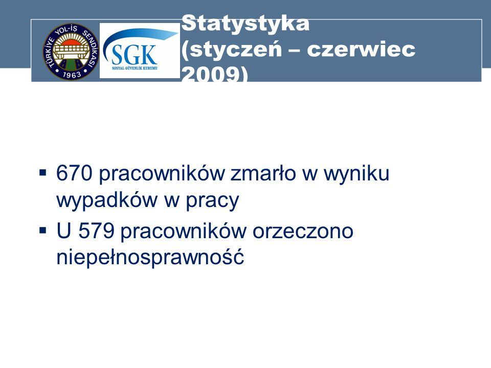 Statystyka (styczeń – czerwiec 2009) 670 pracowników zmarło w wyniku wypadków w pracy U 579 pracowników orzeczono niepełnosprawność