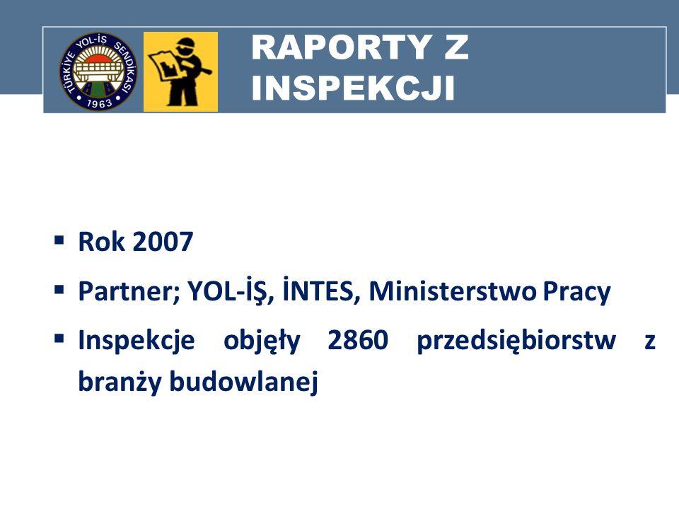 RAPORTY Z INSPEKCJI Rok 2007 Partner; YOL-İŞ, İNTES, Ministerstwo Pracy Inspekcje objęły 2860 przedsiębiorstw z branży budowlanej