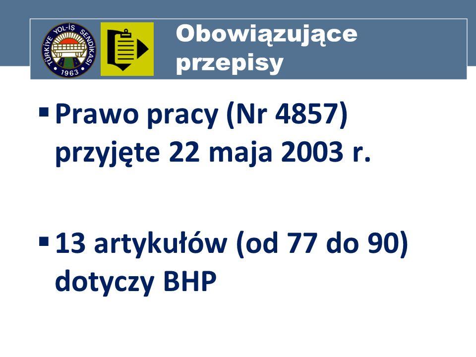 Obowiązujące przepisy Prawo pracy (Nr 4857) przyjęte 22 maja 2003 r. 13 artykułów (od 77 do 90) dotyczy BHP