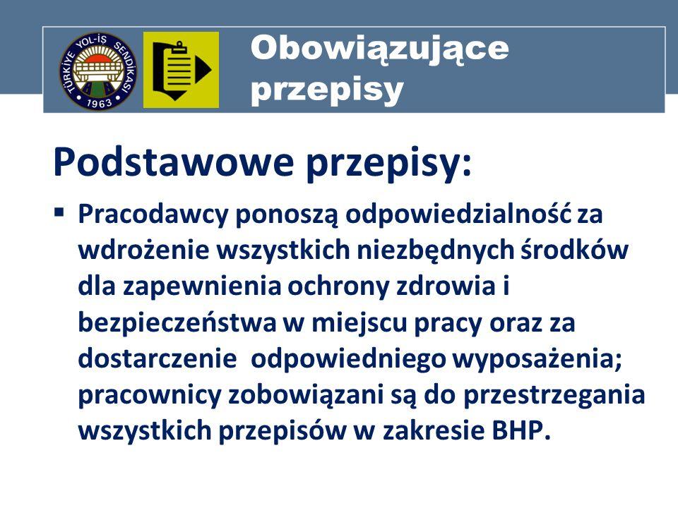 Obowiązujące przepisy Podstawowe przepisy: Pracodawcy ponoszą odpowiedzialność za wdrożenie wszystkich niezbędnych środków dla zapewnienia ochrony zdr