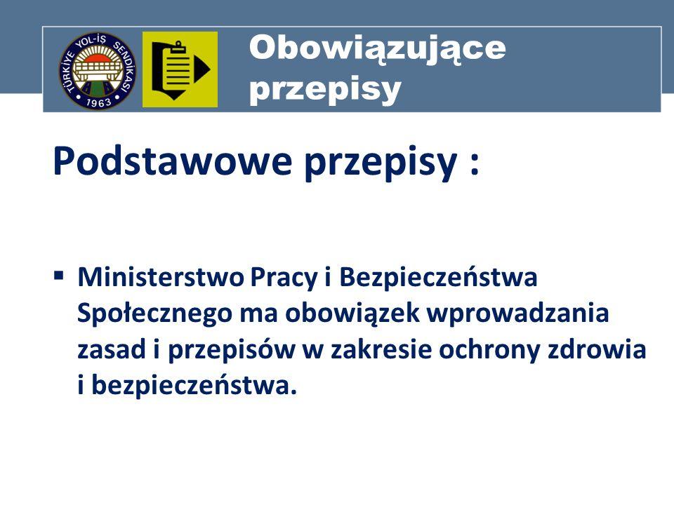 Obowiązujące przepisy Podstawowe przepisy : Ministerstwo Pracy i Bezpieczeństwa Społecznego ma obowiązek wprowadzania zasad i przepisów w zakresie och
