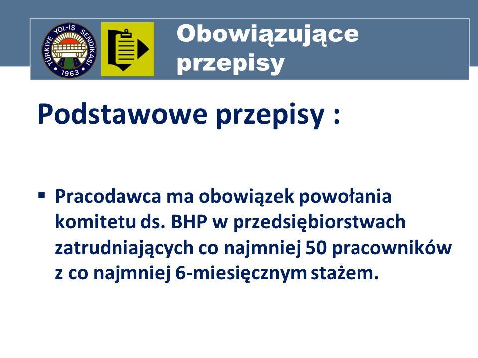 Obowiązujące przepisy Podstawowe przepisy : Pracodawca ma obowiązek powołania komitetu ds. BHP w przedsiębiorstwach zatrudniających co najmniej 50 pra