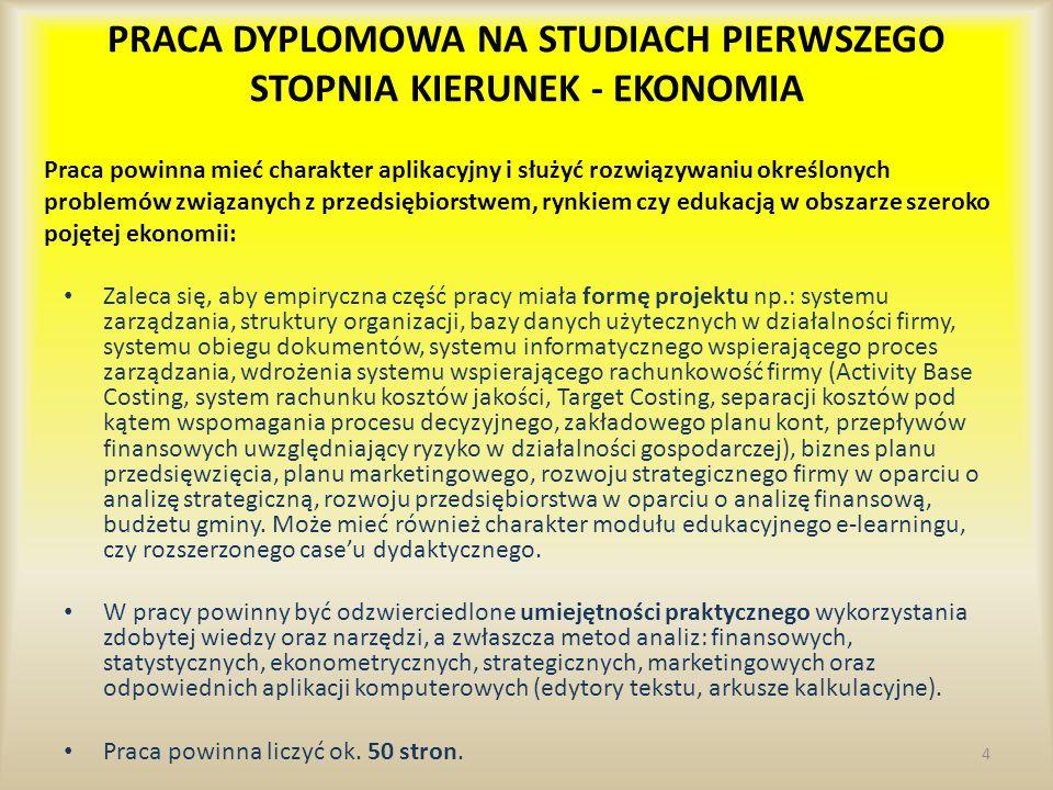 PRACA DYPLOMOWA NA STUDIACH PIERWSZEGO STOPNIA KIERUNEK - EKONOMIA Zaleca się, aby empiryczna część pracy miała formę projektu np.: systemu zarządzani