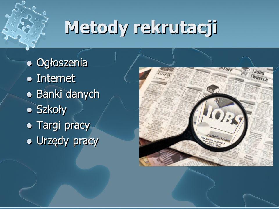Metody rekrutacji Ogłoszenia Internet Banki danych Szkoły Targi pracy Urzędy pracy Ogłoszenia Internet Banki danych Szkoły Targi pracy Urzędy pracy